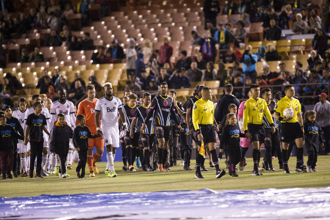 The Vancouver Whitecaps FC and Las Vegas Lights FC take the field for their soccer game at Cashman Field in Las Vegas, Saturday, Feb. 17, 2018. Erik Verduzco Las Vegas Review-Journal @Erik_Verduzco