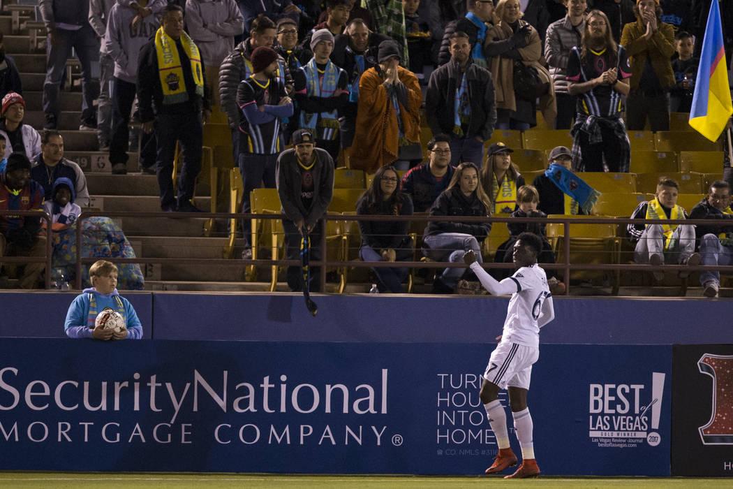 Vancouver Whitecaps FC's Alphonso Davies (67) celebrates his goal against the Las Vegas Lights FC in their soccer game at Cashman Field in Las Vegas, Saturday, Feb. 17, 2018. Erik Verduzco  ...