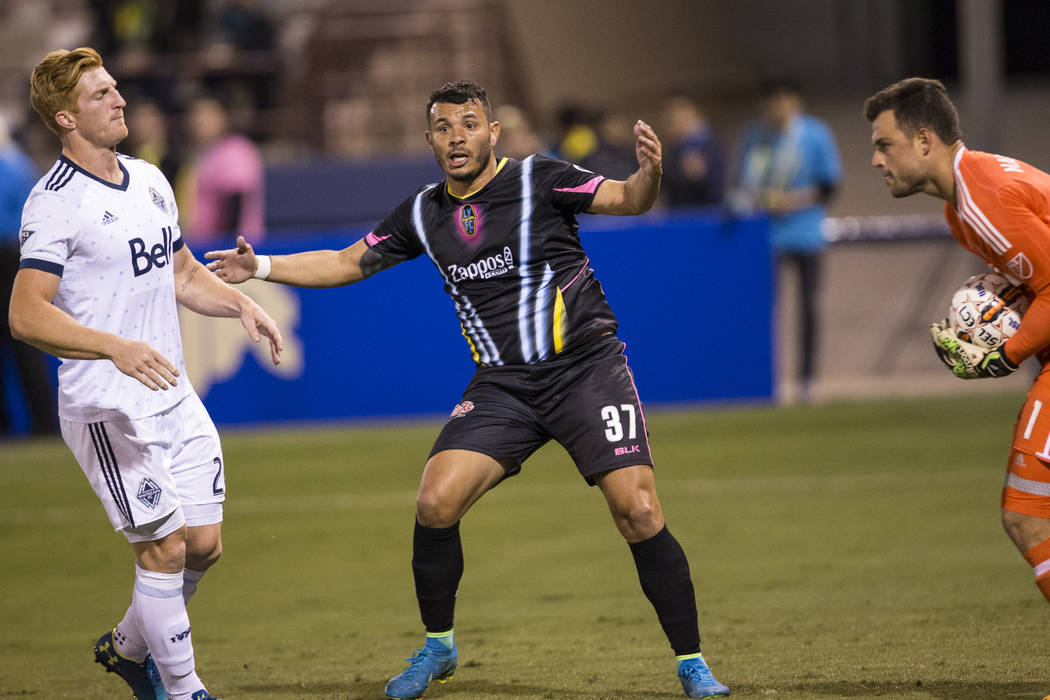 Las Vegas Lights FC's  Samuel Ochoa (37) reacts to an  offside call against the Vancouver Whitecaps FC in their soccer game at Cashman Field in Las Vegas, Saturday, Feb. 17, 2018. Erik Verd ...