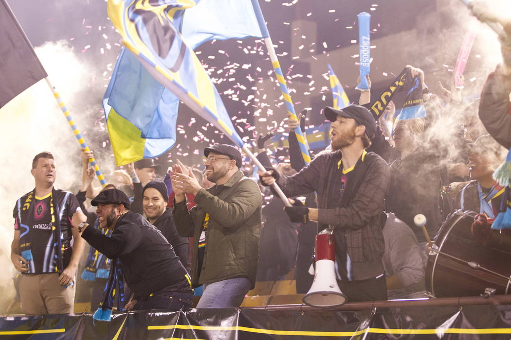 Las Vegas Lights FC fans celebrate the team's second goal against the Vancouver Whitecaps FC at Cashman Field in Las Vegas, Saturday, Feb. 17, 2018. Erik Verduzco Las Vegas Review-Journal @Erik_Ve ...