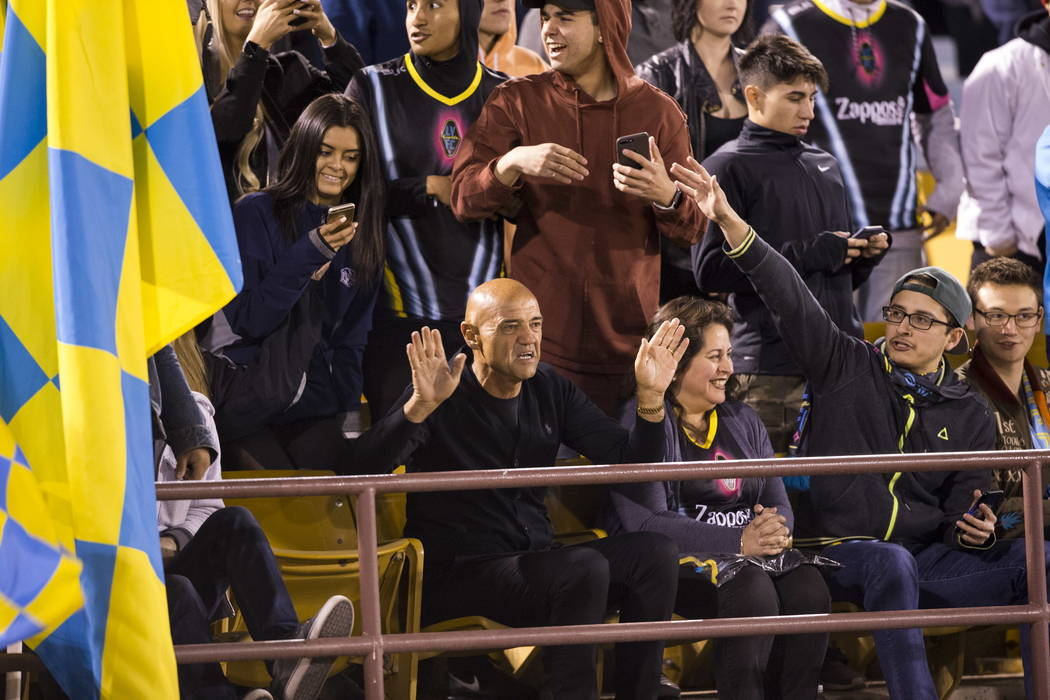 Las Vegas Lights FC head coach Jose Luis Sa´nchez Sola´ sits in the bleachers with fans after getting kicked out of the game against the Vancouver Whitecaps FC at Cashman Field in Las Ve ...