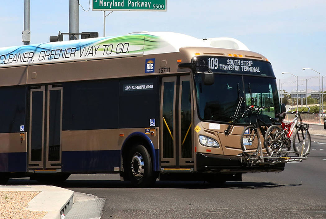 A RTC bus at the intersection of S. Maryland Parkway and Russel Road near McCarran Airport on Friday, June 9, 2017. (Bizuayehu Tesfaye/Las Vegas Review-Journal)