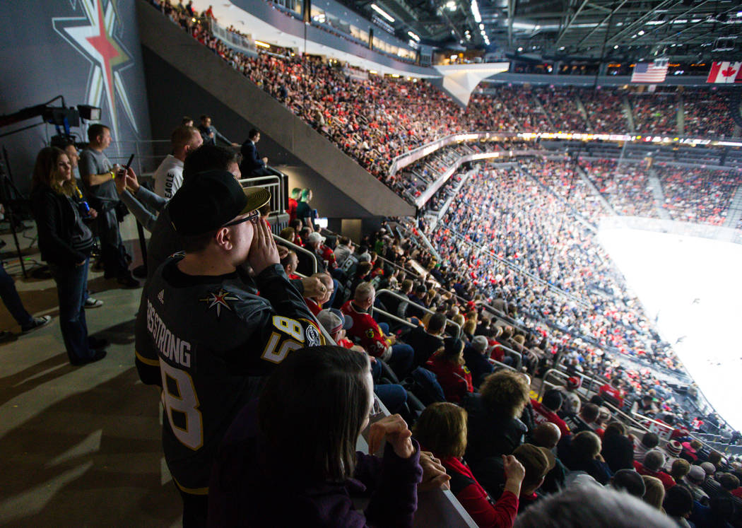 Golden Knights fan Zack Mueller shouts from the standing room only area as the Golden Knights play the Chicago Blackhawks during an NHL game at T-Mobile Arena in Las Vegas on Tuesday, Feb. 13, 201 ...