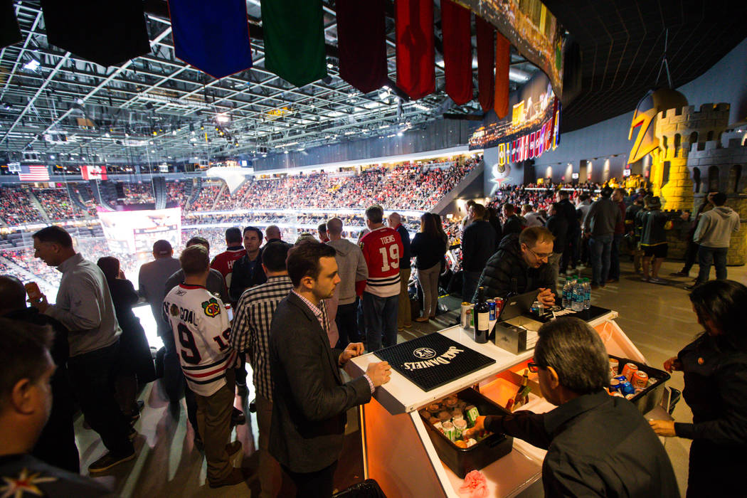 The standing room only area for Golden Knights home games features an open bar at T-Mobile Arena in Las Vegas on Tuesday, Feb. 13, 2018. Chase Stevens Las Vegas Review-Journal @csstevensphoto