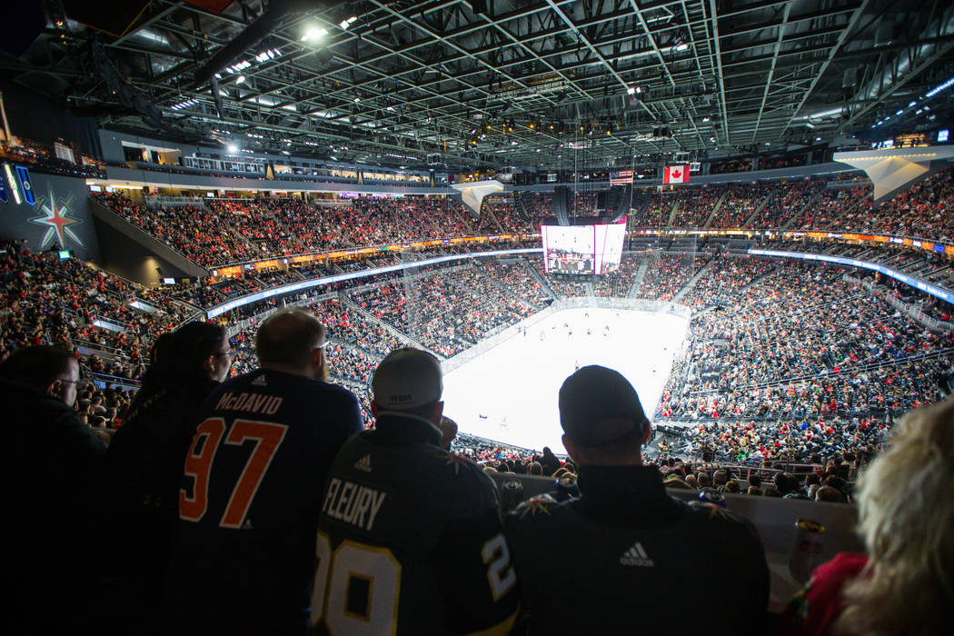 Hockey fans take in the action from the standing room only area as the Golden Knights play the Chicago Blackhawks during an NHL game at T-Mobile Arena in Las Vegas on Tuesday, Feb. 13, 2018. Chase ...