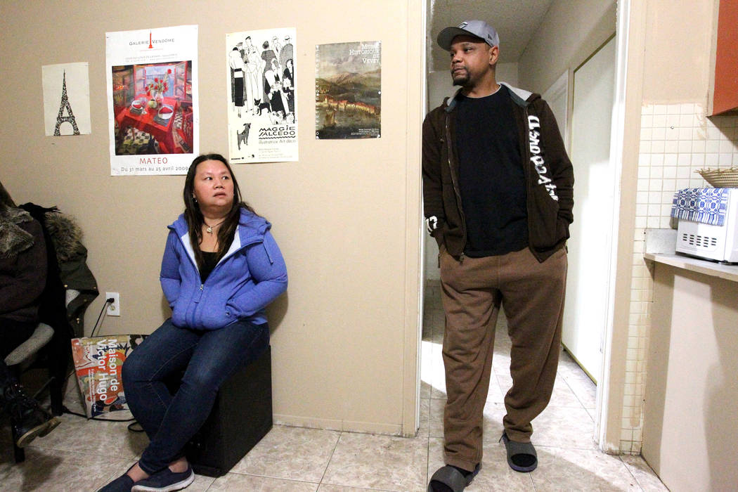 """Treva Lee, left, and Jersharo Amey talk to a reporter Feb. 19, 2018, at a Las Vegas """"independent living"""" home where they live. They found Rayshauna Roy dead in her room. She had just been released ..."""