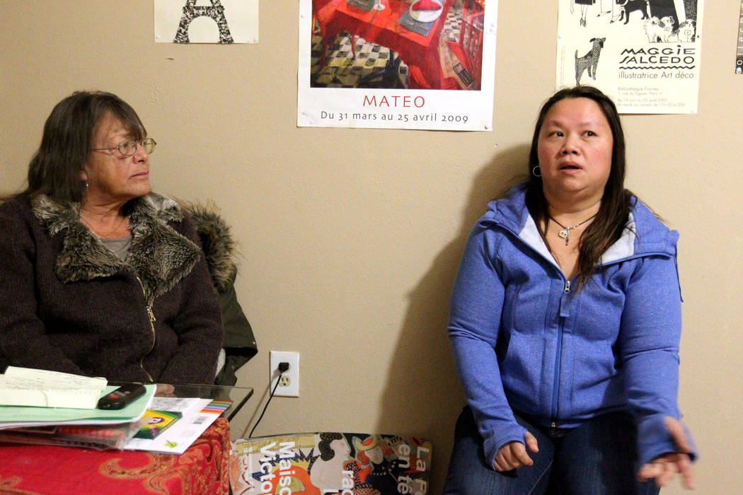 """Linda Theubet, a recovering alcoholic who had depression and anxiety attacks, left, and Treva Lee talk to a reporter in Feb. 19, 2018, in Theubet's room at the Las Vegas """"independent living"""" home. ..."""