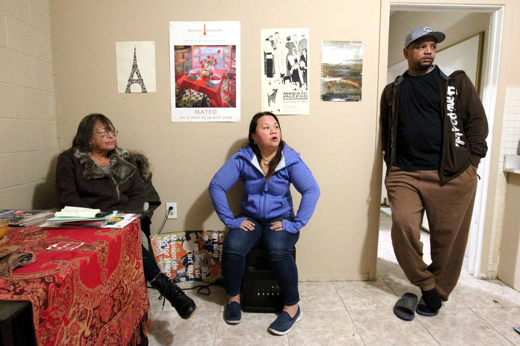 """Linda Theubet, a recovering alcoholic who had depression and anxiety attacks, from left, Treva Lee and Jersharo Amey talk to a reporter Feb. 19, 2018, in Theubet's room at the Las Vegas """"independe ..."""