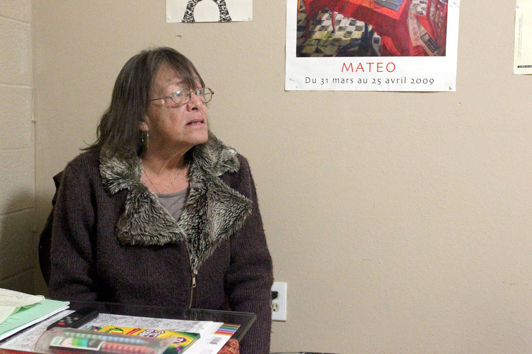 """Linda Theubet, a recovering alcoholic who had depression and anxiety attacks, talks to a reporter in Feb. 19, 2018, in her room at the Las Vegas """"independent living"""" home. Rayshauna Roy was found  ..."""