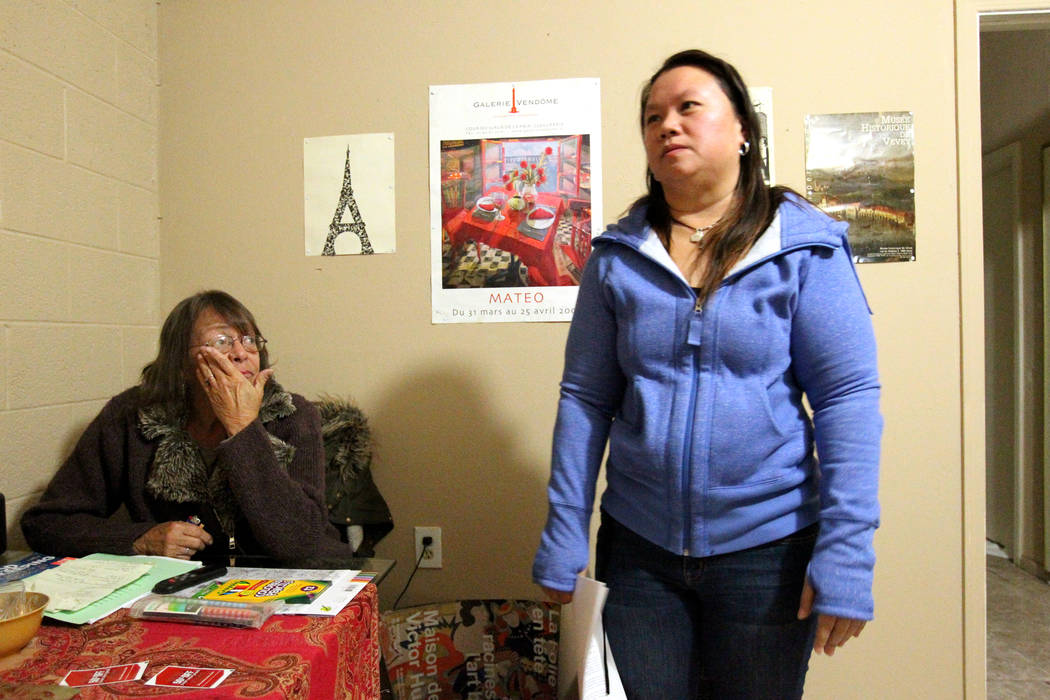 """Linda Theubet, a recovering alcoholic who had depression and anxiety attacks, left, and Treva Lee talk to a reporter in Feb. 19, 2018, in Theubet's room at the Las Vegas """"independent living home.  ..."""
