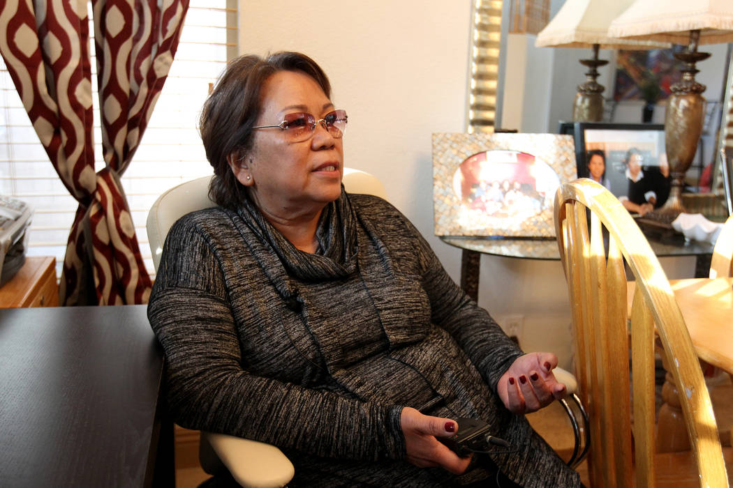 """Rose Marie Caymo talks to a reporter Wednesday, Feb. 21, 2018, in one of her """"independent living"""" homes where she rents rooms to several clients. K.M. Cannon Las Vegas Review-Jou ..."""