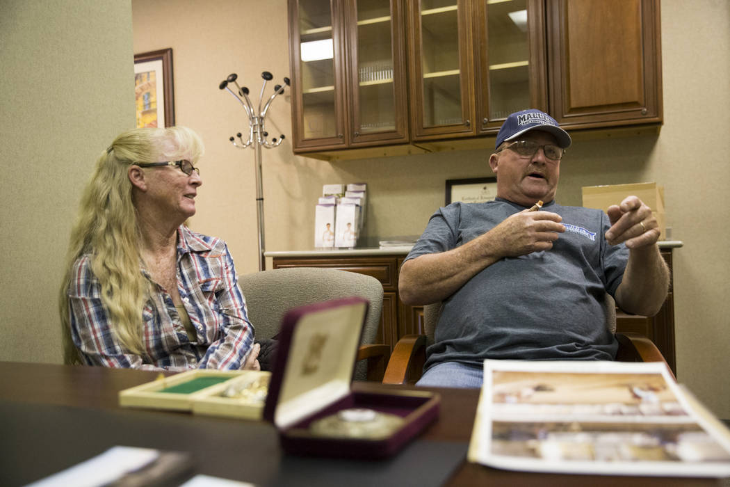 Ben Mays, right, with his wife Beth, is interviewed at the UNLV School of Medicine in Las Vegas, Tuesday, Feb. 13, 2018. Mays severed his thumb while competing in the World Series of Team Roping e ...