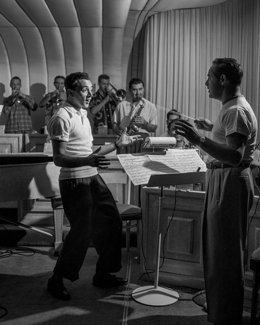 American singer and entertainer Vic Damone, left, rehearses at the Flamingo in Las Vegas on Jan. 1, 1950. (Las Vegas News Bureau)