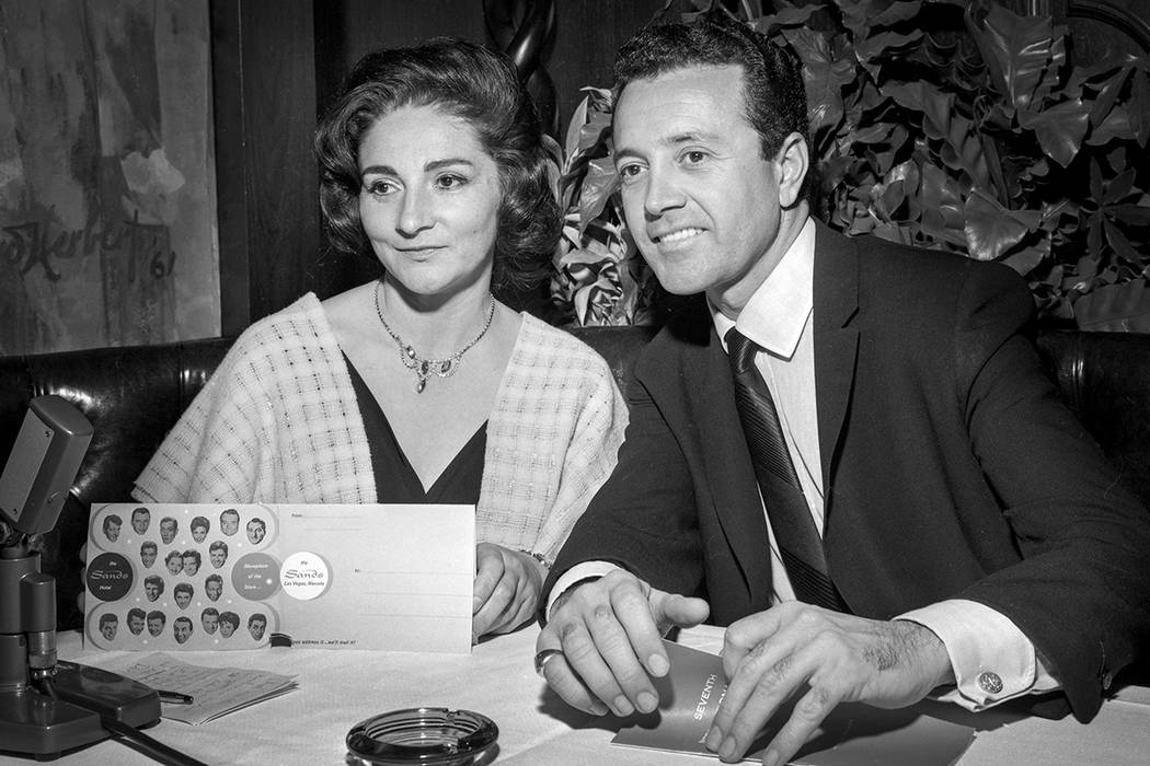 "Actress Pier Angeli, left, and her husband singer Vic Damone are seen during a February 5, 1963, ""Summit at the Sands"" show at the Sands in Las Vegas. CREDIT: Las Vegas News Bureau"