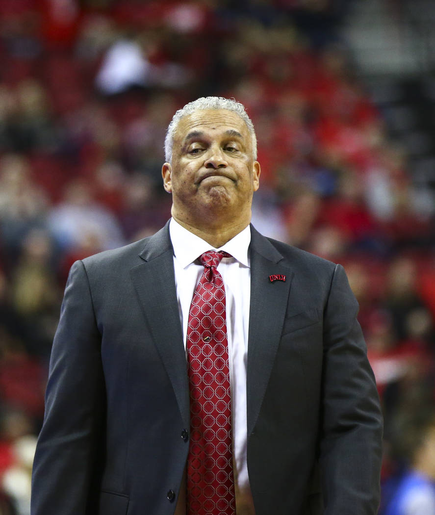 UNLV head coach Marvin Menzies reacts as his team trails UNR during the second half of a basketball game at the Thomas & Mack Center in Las Vegas on Wednesday, Feb. 28, 2018. UNR won 101-75. C ...