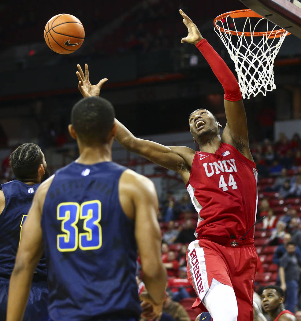 UNLV forward Brandon McCoy (44) reaches for a rebound during the second half of a basketball game against UNR at the Thomas & Mack Center in Las Vegas on Wednesday, Feb. 28, 2018. UNR won 101- ...