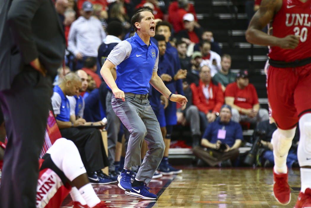 UNR head coach Eric Musselman reacts as his team plays UNLV during the second half of a basketball game at the Thomas & Mack Center in Las Vegas on Wednesday, Feb. 28, 2018. UNR won 101-75. Ch ...