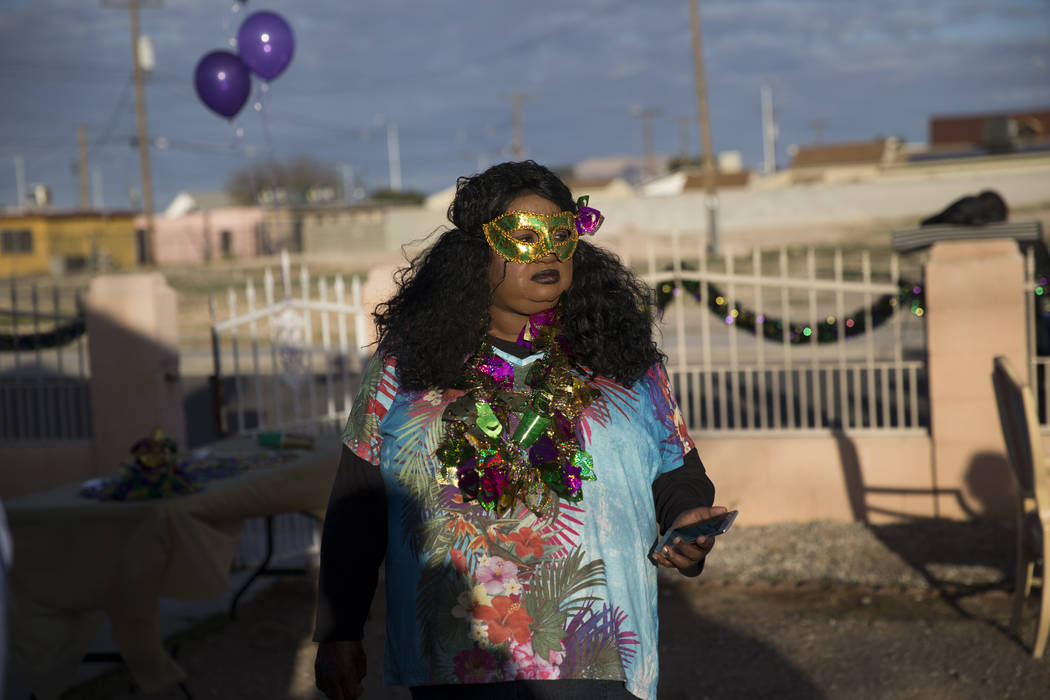 Cherry Vercher attends the Mardi Gras Carnival at the historic Harrison House in Las Vegas, Tuesday, Feb. 13, 2018. (Erik Verduzco/Las Vegas Review-Journal) @Erik_Verduzco