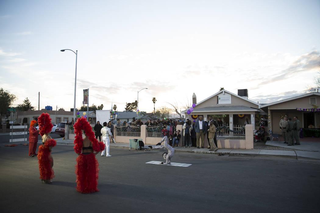 Performers with Circo Hermanos Ramos perform during the Mardi Gras Carnival at the historic Harrison House in Las Vegas, Tuesday, Feb. 13, 2018. (Erik Verduzco/Las Vegas Review-Journal) @Erik_Verduzco