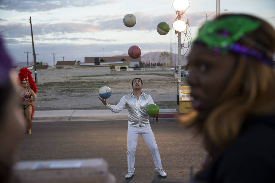 Josue Rodriguez, a juggler for Circo Hermanos Ramos, performs during the Mardi Gras Carnival at the historic Harrison House in Las Vegas, Tuesday, Feb. 13, 2018. (Erik Verduzco/Las Vegas Review-Jo ...