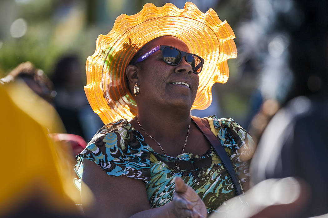 Elizabeth Richardson of North Las Vegas claps along with a performance from Molodi, a performance ensemble,during a celebration of Black History Month at the Springs Preserve on Saturday, Fe ...
