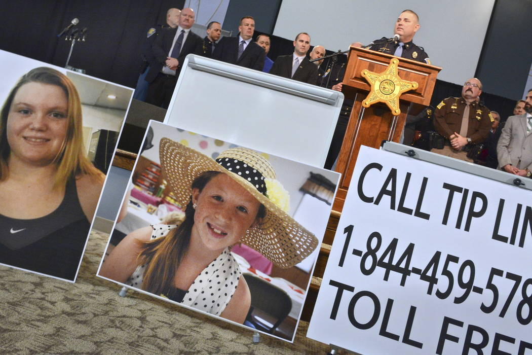 Indiana State Police public information officer Tony Slocum speaks at a news conference Feb. 22, 2017, providing latest details of the investigation into the killings Feb. 13 of Liberty German, le ...