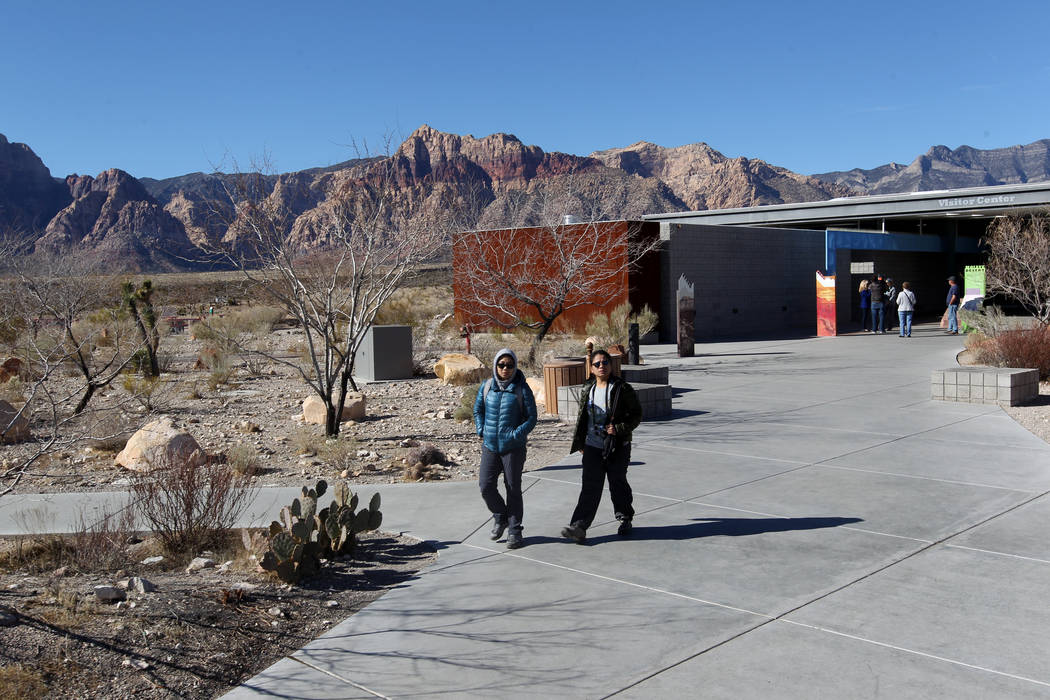 The visitor center at Red Rock Canyon National Conservation Area scenic loop is closed Monday, Jan. 22, 2018. While the gates were open, the fee booths, visitor center and bathrooms were closed du ...