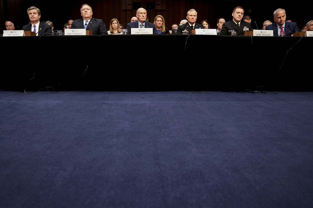 From left, FBI Director Christopher Wray, CIA Director Mike Pompeo, Director of National Intelligence Dan Coats, Defense Intelligence Agency Director Robert Ashley, National Security Agency Direct ...