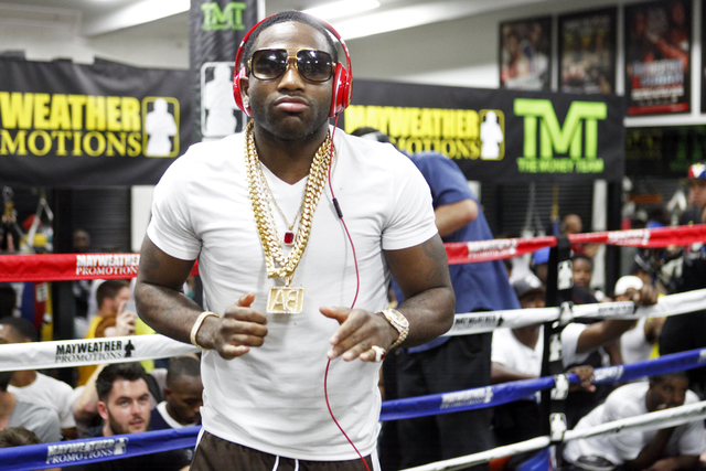 Adrien Broner makes an appearance at the Floyd Mayweather Boxing Club on Wednesday, June 17, 2015, in Las Vegas. Shawn Porter and Adrien Broner will fight this Saturday at the MGM. (James Tensuan/ ...