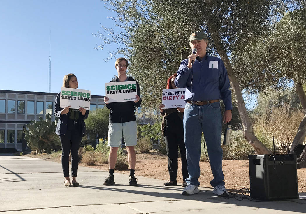 Jeffrey Van Ee, former pollution specialist for the Environmental Protection Agency, speaks during a Sierra Club protest Dec. 1 in front of the EPA lab at UNLV. The agency has confirmed that the l ...