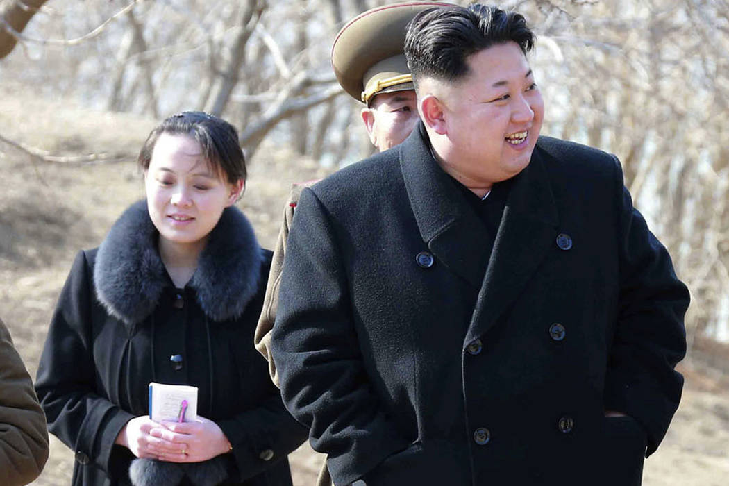 FILE - This 2015, file photo provided by the North Korean government shows North Korean leader Kim Jong Un and his sister Kim Yo Jong, left, during their visit to a military unit in North Korea. S ...