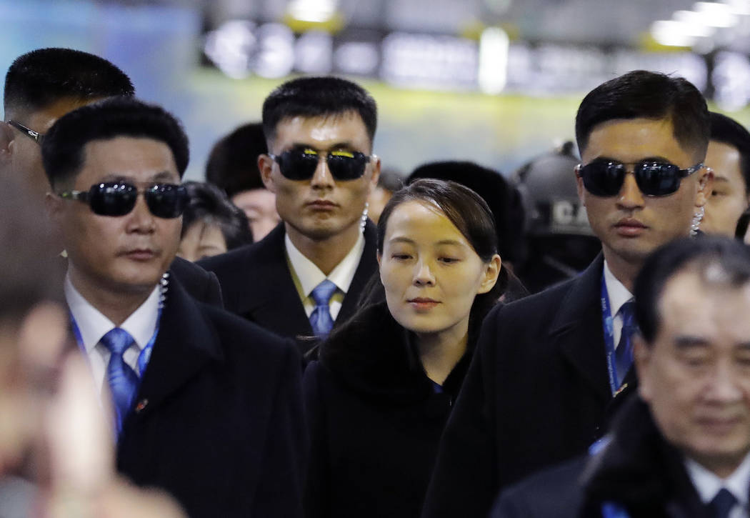 North Korean leader Kim Jong Un's younger sister Kim Yo Jong, center, arrives at the Jinbu train station in Pyeongchang, South Korea, Friday, Feb. 9, 2018. In a stunning turn of events, North Kore ...