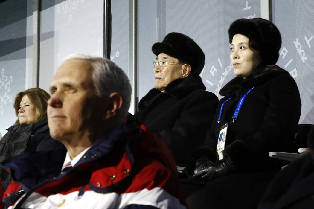 Kim Yo Jong, top right, sister of North Korean leader Kim Jong Un, sits alongside Kim Yong Nam, president of the Presidium of North Korean Parliament, and behind U.S. Vice President Mike Pence as  ...