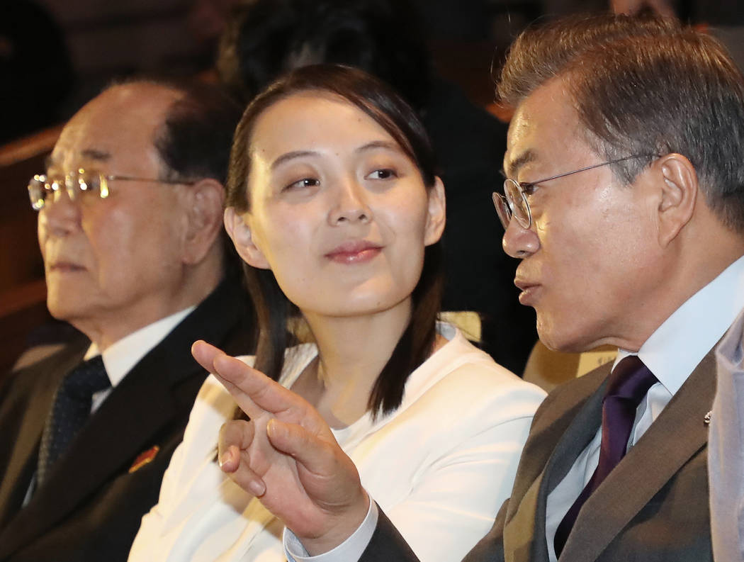 South Koran President Moon Jae-in talks with Kim Yo Jong, North Korean leader Kim Jong Un's sister, during a performance of North Korea's Samjiyon Orchestra at National Theater in Seoul, South Kor ...