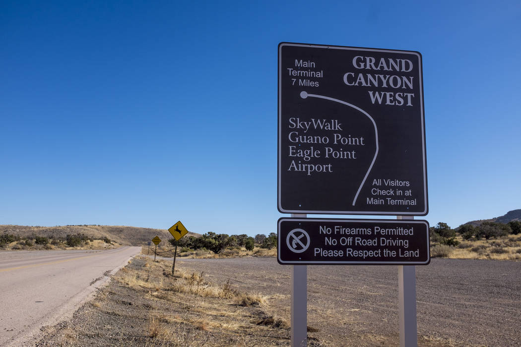 Signs to the entrance of Grand Canyon West and the Hualapai Nation Indian Reservation in Arizona on Sunday, Feb. 11, 2018.  Patrick Connolly Las Vegas Review-Journal @PConnPie