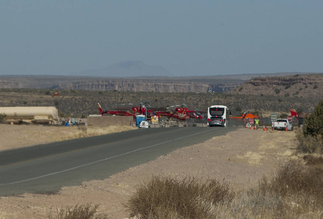 Papillon helicopters sit next to a security checkpoint at Grand Canyon West on the Hualapai Nation Indian Reservation in Arizona on Sunday, Feb. 11, 2018.  Patrick Connolly Las Vegas Review-Journa ...