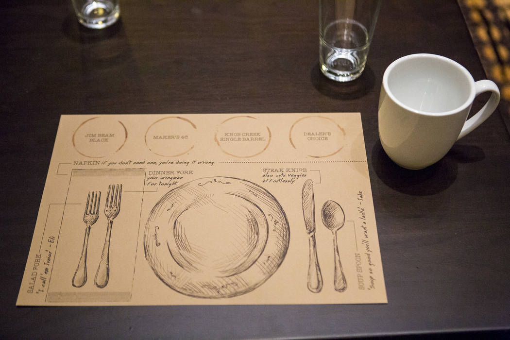 A placemat at the new restaurant Jake & Eli, which replaced the casino floor at the Westin Las Vegas, on Wednesday, Feb. 14, 2018. (Patrick Connolly/Las Vegas Review-Journal) @PConnPie