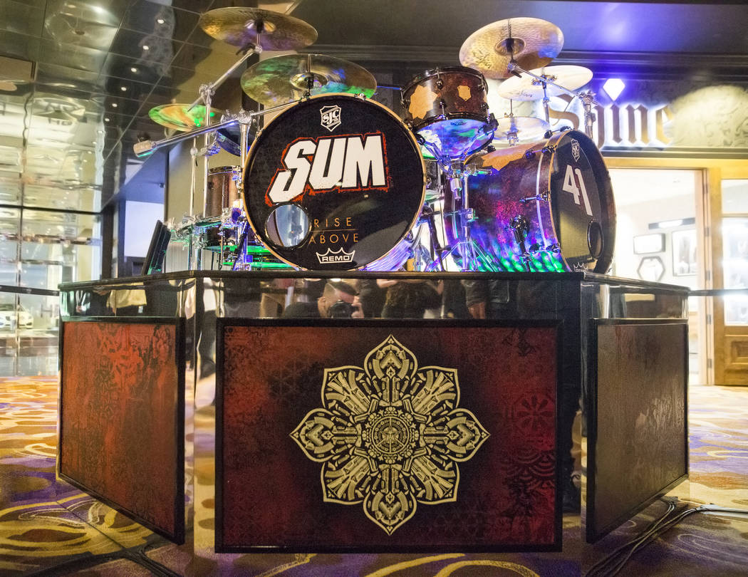 A custom drumkit/art project called Rise Above that artist Shepard Fairey created for Sum 41 drummer Frank Zummo on Friday, February 16, 2018, at The Hard Rock hotel-casino, in Las Vegas. Benjamin ...