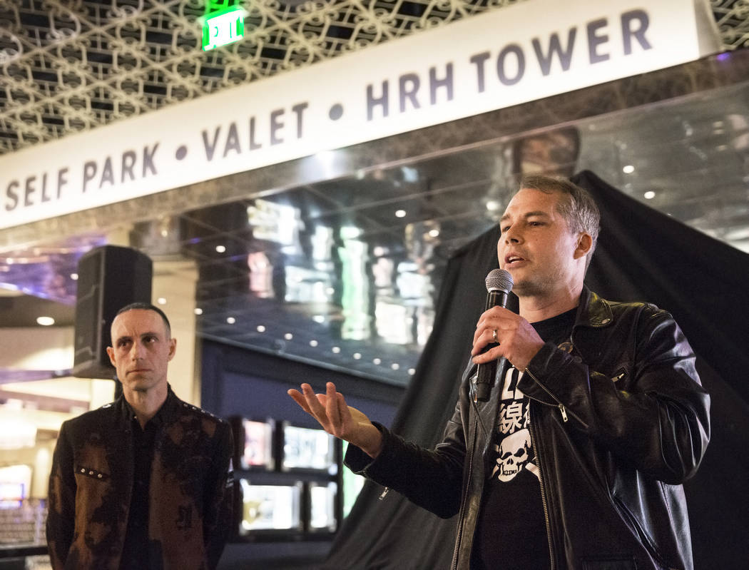 Artist Shepard Fairey, right, and Sum 41 drummer Frank Zummo discuss the creation of custom a drumkit/art project called Rise Above on Friday, February 16, 2018, at The Hard Rock hotel-casino, in  ...