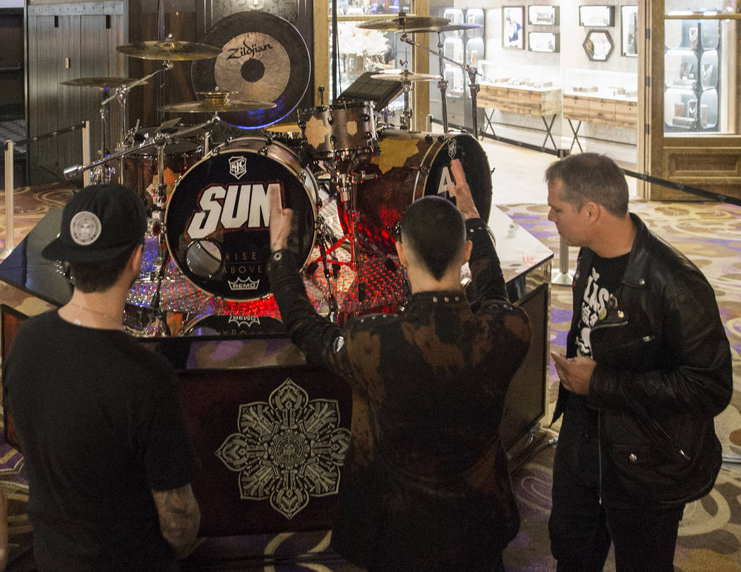 SJC co-founder Mike Ciprary, left, Sum 41 drummer Frank Zummo and artist Shepard Fairey discuss the creation of a custom drumkit/art project called Rise Above on Friday, February 16, 2018, at The  ...