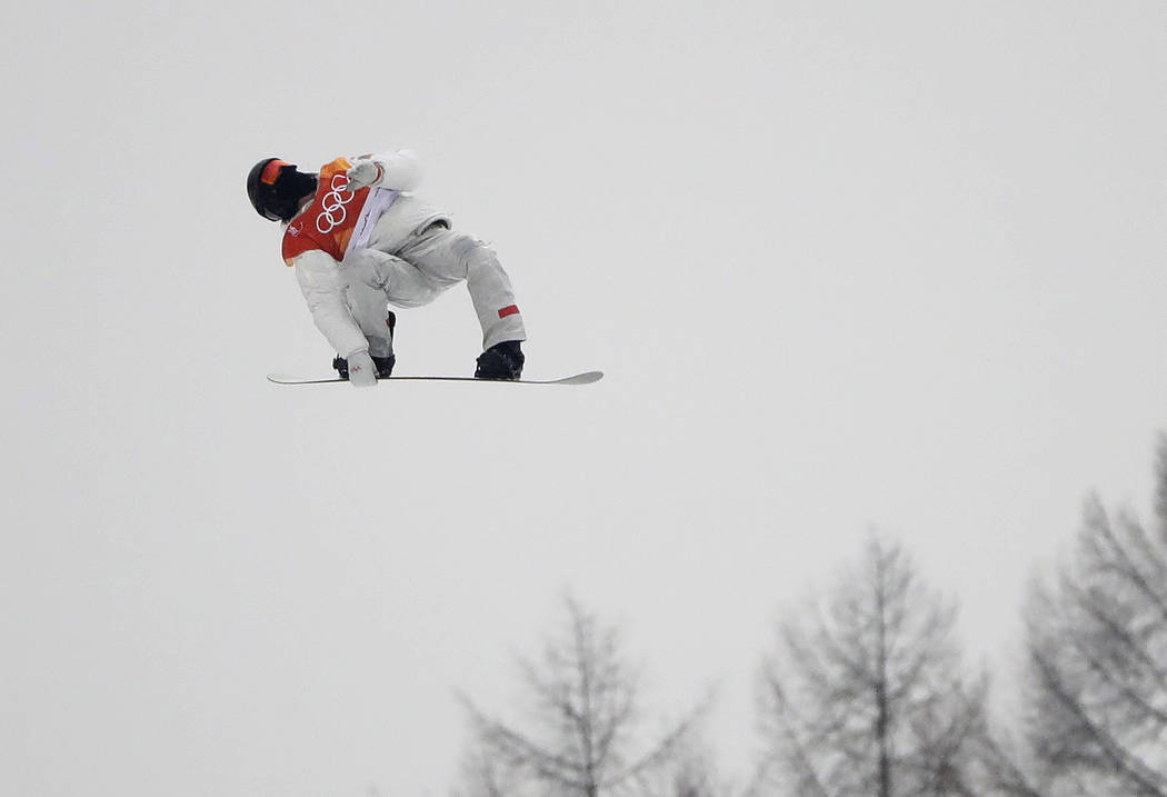 Shaun White, of the United States, jumps during the men's halfpipe finals at Phoenix Snow Park at the 2018 Winter Olympics in Pyeongchang, South Korea, Wednesday, Feb. 14, 2018. (AP Photo/Gregory  ...