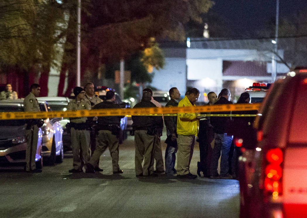 The Metropolitan Police Department investigates the scene of a homicide near the intersection of Industrial Avenue and West New York Avenue on Tuesday, Feb. 13, 2018.  Patrick Connolly Las Vegas R ...