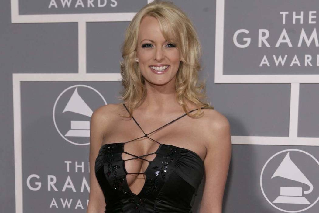 FILE - In this Feb. 11, 2007, file photo, Stormy Daniels arrives for the 49th Annual Grammy Awards in Los Angeles.  (Matt Sayles,/AP File)