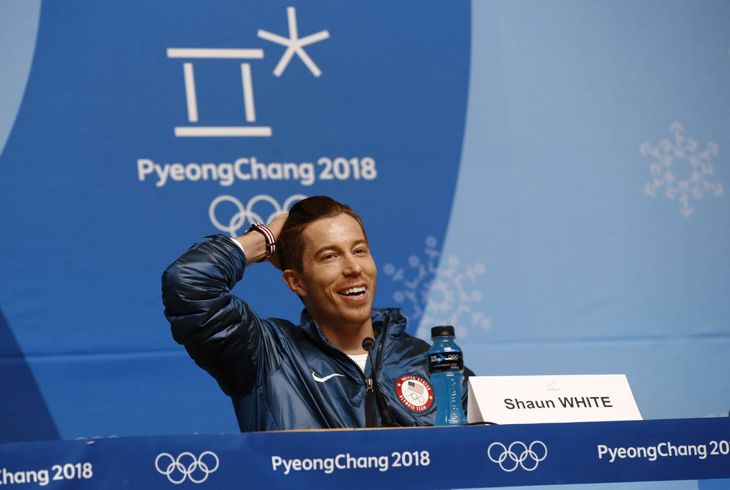 Men's halfpipe gold medalist Shaun White, of the United States, speaks at a news conference at the 2018 Winter Olympics in Pyeongchang, South Korea, Wednesday, Feb. 14, 2018. (AP Photo/Patrick Sem ...