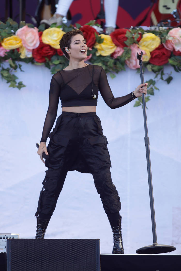 LAS VEGAS, NV - SEPTEMBER 23:  Halsey performs onstage during the Daytime Village Presented by Capital One at the 2017 HeartRadio Music Festival at the Las Vegas Village on September 23, 2017 in L ...