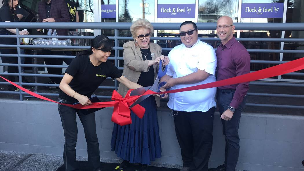 The Ogden recently celebrated the opening of Flock & Fowl, the newest restaurant on the ground floor of the high-rise community. City of Las Vegas Mayor Carolyn G. Goodman, second from left, a ...
