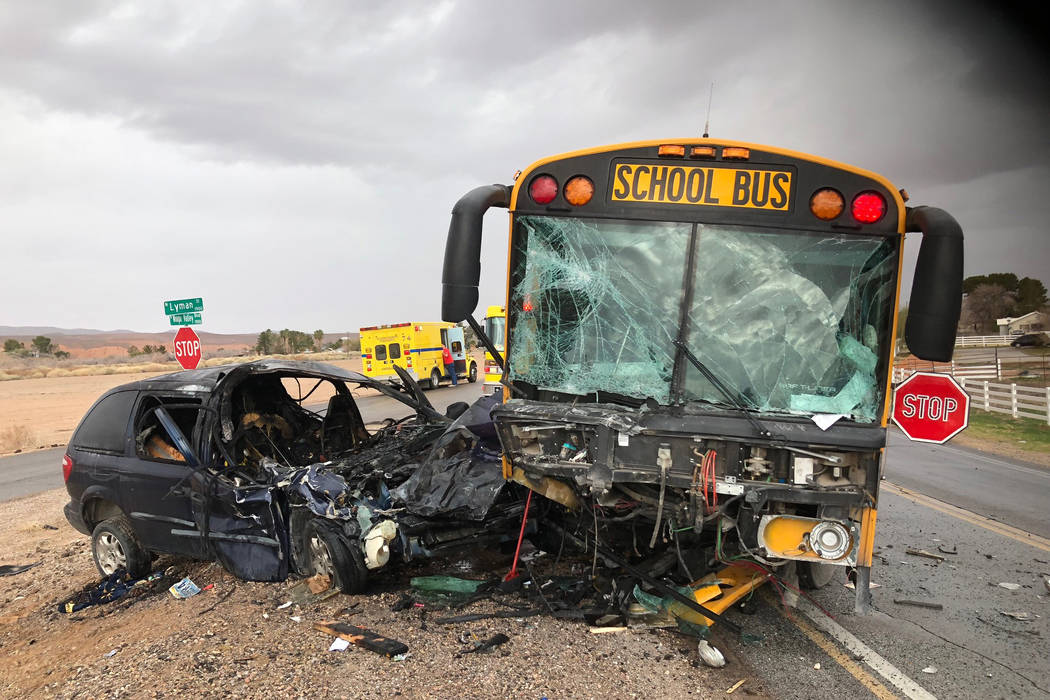 A dark blue minivan collided head-on with a Clark County School District bus in Moapa Valley. (Nevada Highway Patrol)