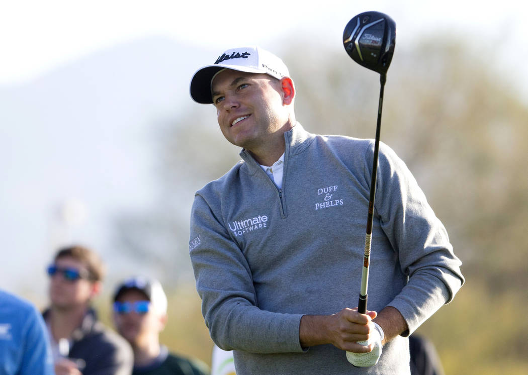 FILE - In this Feb. 2, 2018, file photo, Bill Haas watches his ball from the third tee box during the second round of the Waste Management Phoenix Open golf tournament in Scottsdale, Ariz. Haas ha ...