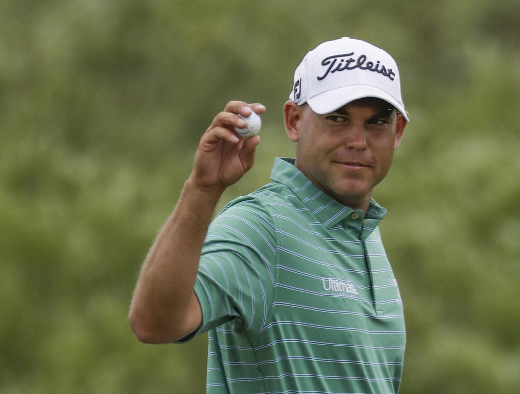 FILE - In this June 17, 2017, file photo, Bill Haas gestures after a birdie on the first hole during the third round of the U.S. Open golf tournament at Erin Hills in Erin, Wis. Haas has been rele ...