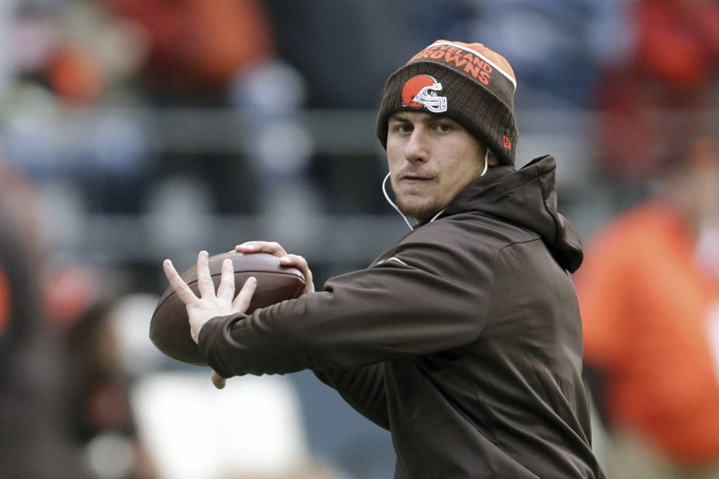 In this Dec. 20, 2015, file photo, Cleveland Browns quarterback Johnny Manziel warms-up before an NFL football game against the Seattle Seahawks, in Seattle. Former Heisman Trophy-winning quarterb ...